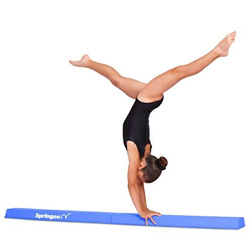 Springee 6ft Balance Beam - Extra Firm - Vinyl Folding Gymnastics Beam for Home - Blue ()