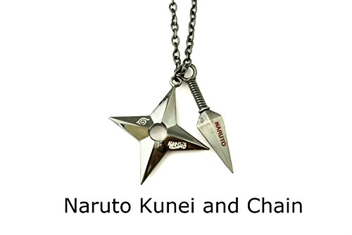 (Naruto Hidden Leaf Village Kunei and Chain Tool Theme Necklace w/Gift)