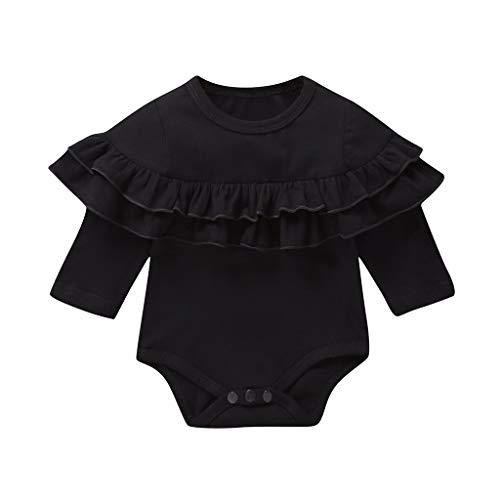 Emimarol New Born Romper Outfit Ruffled Collar Colorful Bodysuits One Piece Toddler Jumpsuit Girl Black