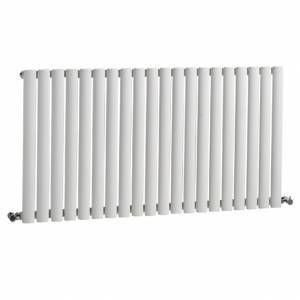 Hudson Reed NAHB0022 - Luxury White Horizontal Designer Radiator Heater With Free Angled Valves - Mild Steel - 25'' x 46.25'' - 1199 Watts - Compact Hydronic Warmer - Cast Iron Style by Hudson Reed (Image #4)