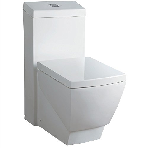 WoodBridge T-0020 Dual Flush Elongated One Piece Toilet with Soft Closing Seat, Deluxe Square Design - Soft Closing Seat