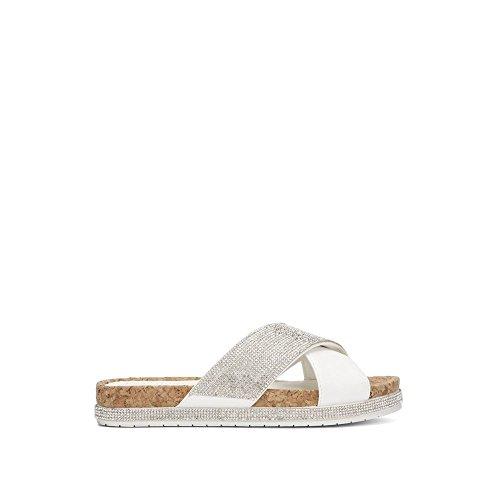 Kenneth Cole Reaction Women Shoes - Kenneth Cole REACTION Women's Shore-ly Slip Slide X-Band Straps Flat Sandal, White, 10 M US