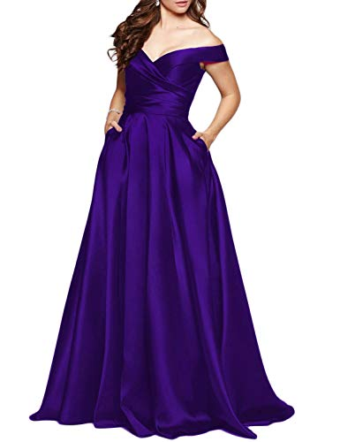 Scarisee Women's Long Off-The-Shoulder Prom Evening Dresses with Pockets Formal A-line Wedding Party Bridesmaid Gowns Light Purple 06