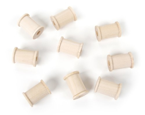 Darice 9119-54 Big Value Unfinished Large Center Wood Spool, Natural, 7/8-Inch ()