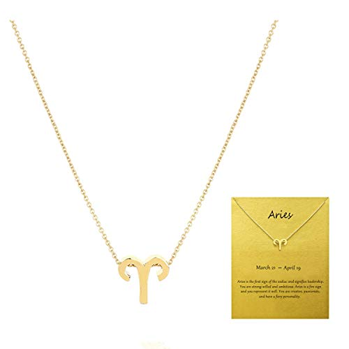 VIIRY Fashion 12 Constellations Aries Necklace for Women,Small Dainty Astrology Pendant Gold Clavicle Necklace Gift Card