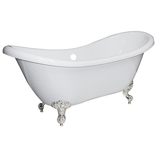 """68"""" Clawfoot Bathtub Acrylic Double Ended Slipper with 7"""" Faucet Hole Drillings & Brushed Nickel Feet-""""Harrison"""""""