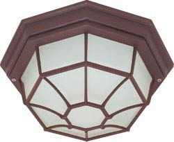 Replacement for 60/3451 1 Light 12 INCH Ceiling Spider CAGE Fixture DIE CAST Glass Lens Color Retail Packaging Old Bronze