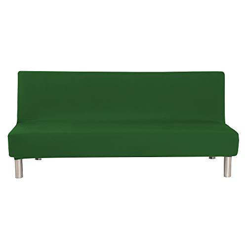 (WATTA Solid Color Futon Cover Slipcover Couch, Polyester Spandex Stretch Bed Cover Replacement,Futon Mattress Cover, Futon Mattress Protector - Deep Green - 51