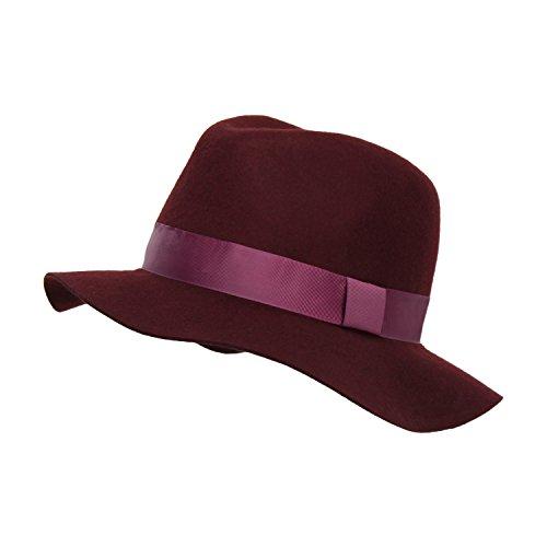 Cranberry Women's Winter Floppy Wide Brim Fedora, Wool Panama Hat w/Ribbon Trim