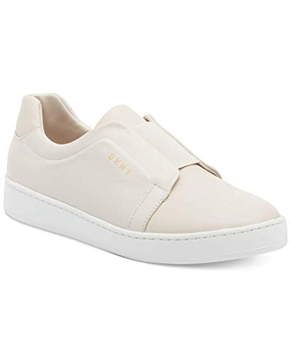 DKNY Womens Bobbi Leather Low Top Slip On Fashion Sneakers, Off White, Size -