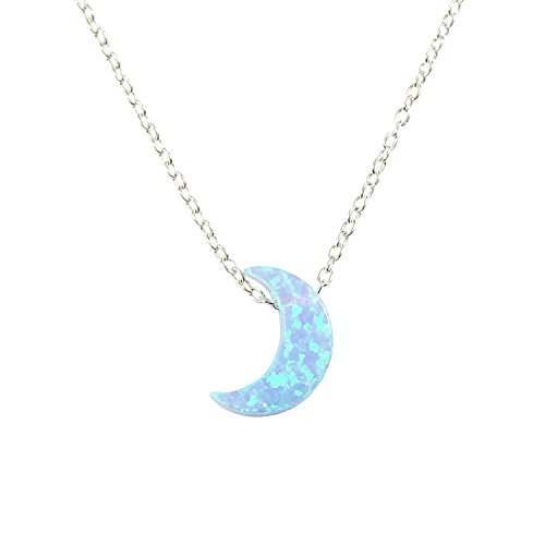 Light Blue Moon Opal Necklace. Half Moon Necklace Crescent Opal Moon Charm Necklace