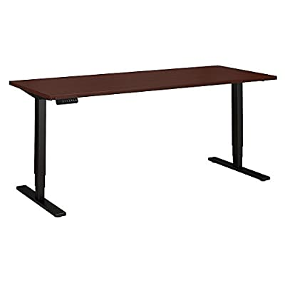 Move 80 Series by Bush Business Furniture 72W x 30D Height Adjustable Standing Desk in Harvest Cherry with Black Base