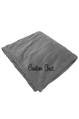 Zynotti Personalized Embroidered Gray Throw Blanket Size 50x60 Bedding Fleece Soft Cozy Blanket for Bed or Couch