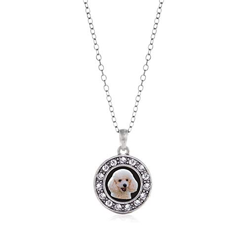 - Inspired Silver - The Poodle Charm Necklace for Women - Silver Circle Charm 18 Inch Necklace with Cubic Zirconia Jewelry