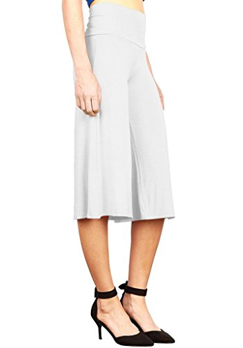 Women's Stretch Gaucho Pants with Banded Waist Shorts With 1/2 Pants White ()