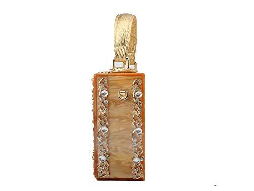 Bal pour Acrylique Embrayage Imprimer Métal Blanc Sacs Cadeau sculpté Parti chaîne Diamant Creux avec Womens 7x6x3inch Blanc 19x15x7cm qwPvxUU