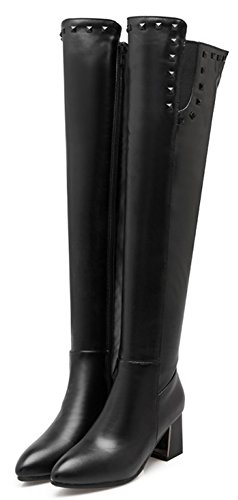 Aisun Women's Studded Dressy Pointed Toe Inside Zip Up Block Medium Heel Above The Knee Boots Shoes With Studs