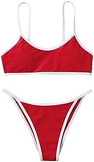 SOLY HUX Women's Spaghetti Strap Contrast Binding Bikini Bathing Suits 2 Piece Swims