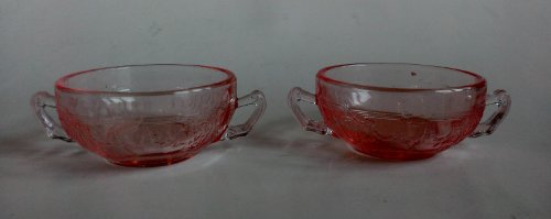 2 Miniature Children Glass Pink Cameo Ballerina Cream Soup ()