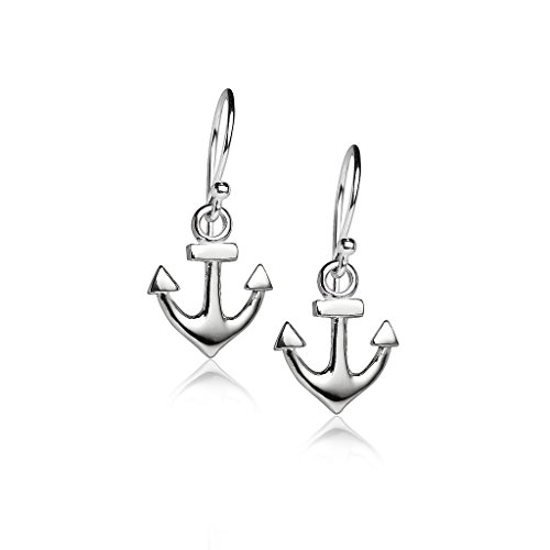 Sterling Silver Sailor Sea Anchor Drop Dangle Hook Earrings, One Pair Set (Earrings Anchor Drop)