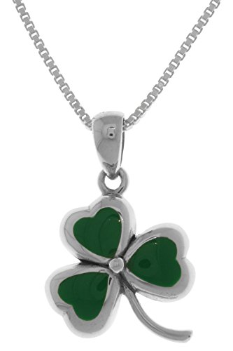 Jewelry Trends Sterling Silver Celtic Clover Shamrock Pendant Necklace 18