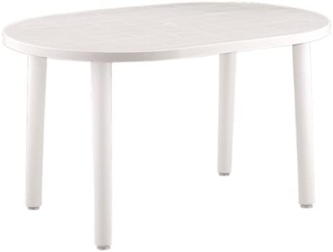 Resol Table de jardin ovale en plastique Blanc 140 x 90 cm ...