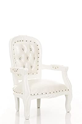 """Mini Angelic Kids Birthday Throne Chair for Children with Armrest - Prince/Princess Throne Chair for Kids - Kids Photo Shoots, Party Rentals, Kids Furniture - Gloss White Finish - 26"""" H"""