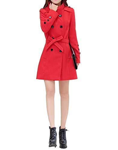 Gabardina Cinturón Otoño Fiesta Botonadura Retro Mujer Abrigos Vintage Elegante Primavera Moda Con Cazadoras Outerwear Parkas Manga Cuello Rojo Doble Stand Larga TqTSrw