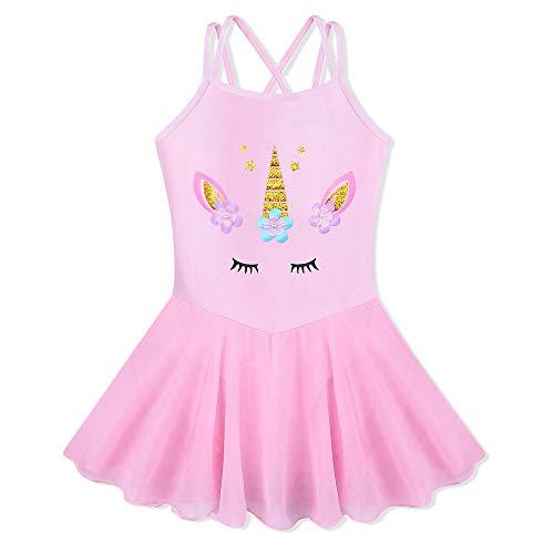 BAOHULU Girl's Skirted Leotards Camisole Cartoon Ballet Tutu Dress B188_Pink_L - Dance Pattern Skirt