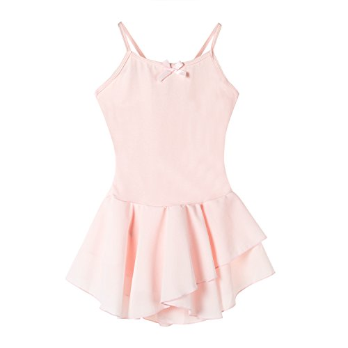 Bindun Girls' Camisole Ballet Dress Skirted Leotard Dance Costumes Pink 6-8Years