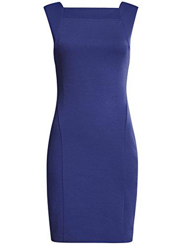oodji Collection Mujer Vestido de Punto con Cierre de Cremallera Azul (7500N)