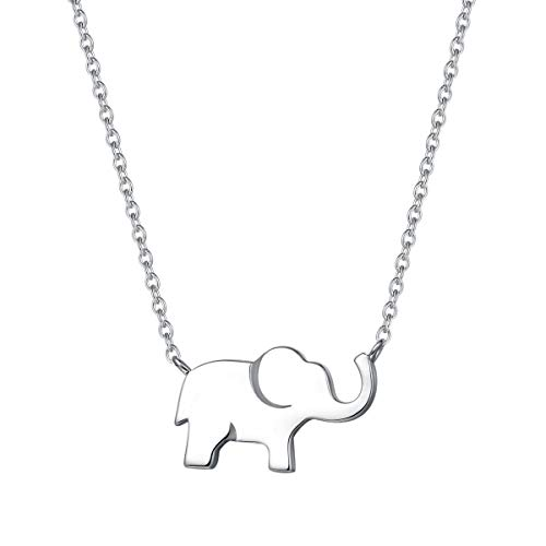 FANCIME White Gold Plated 925 Sterling Silver High Polished Cute Mini Small Lucky Elephant Dainty Pendant Necklace For Women Girls, 16