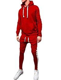 Macondoo-CA Mens Sweatshirt Pants Sportwear Color Block Hooded Outfits Tracksuit Set