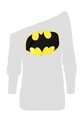Damen Superman Batman Comic-helden Langärmelig Fledermausärmel Schulterfrei Lässig Kleid Top Übergrößen - Batman Weiß, 48-50