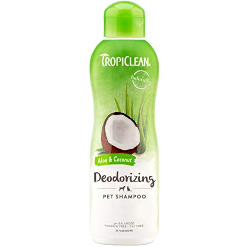 TropiClean Aloe and Coconut Pet Shampoo, Deodorizing Shampoo for Dogs and Cats, Moisture Balancing and Odor Eliminating, 20 oz.