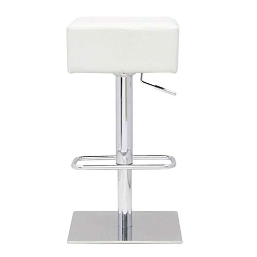 Old Hickory Furniture Leather (CHOOSEandBUY Set of 2 - Modern Backless Swivel Adjustable Height Barstool with White Faux Leather Seat New Sturdy Classic Elegant Furniture)
