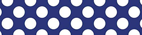 Schoolgirl Style Straight Borders, Navy with Polka Dots (108346)