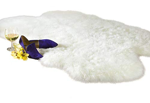 Luxury Faux Fur Sheepskin Rug, Ivory, 4ft x 6ft with Thick Pile and Non Skid Back | Machine Washable, Makes a Soft, Stylish Home Décor Accent for a Kid's Room, ()