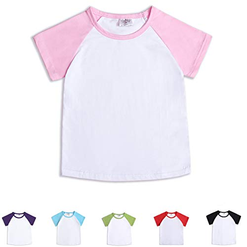 CloudCreator Toddler Baby Girls Boys Short Sleeve Shirts Raglan Shirt Baseball Tee Cotton T-Shirt Pink ()