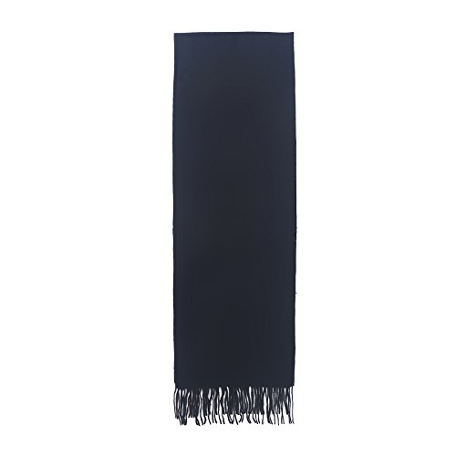 Aqueena Men's New Wool Pure Color Long Scarf With Tassels
