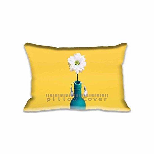 Blair Louisa Standard Pillow Cushion Covers Case White Daisy in a blue bottle Pillow Protector Covers With Zipper(Twin Sides)