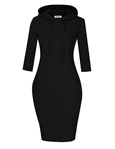 SoleMay Women's Casual Fitted Long Sleeve Pullover Pocket Knee Length Sweatshirt Hoodie Dress Black L