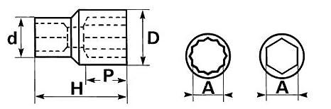 SAM Outillage CH-19 Douille courte 3//4 6 Pans de 19 mm
