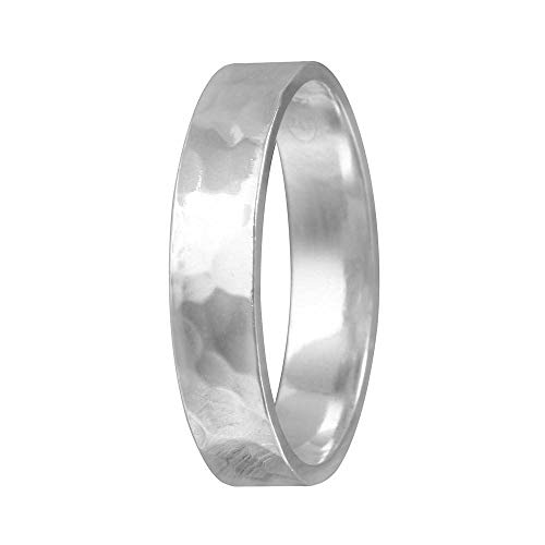 SURANO DESIGN JEWELRY 4mm Men & Women Sterling Silver Hand Hammered Flat Wedding Band Ring (8)