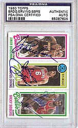 Julius Erving Junior Bridgeman and Ricky Sobers Signed 1980 Topps Trading Card - PSA/DNA Authentication - NBA Basketball Trading ()