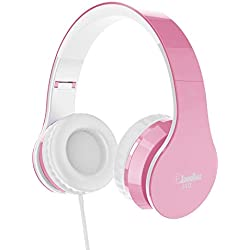 Elecder i40 Headphones with Microphone Foldable Lightweight Adjustable Wired On Ear Headsets with 3.5mm Jack for iPad Cellphones Laptop Computer Smartphones MP3/4 Kindle Airplane School (Pink/White)