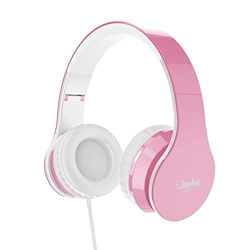 Elecder i40 Headphones with Microphone for Kids Children Girls Boys Teens Foldable Adjustable Wired On Ear Headsets for iPad Cellphones Computer MP3/4 (Pink/White)