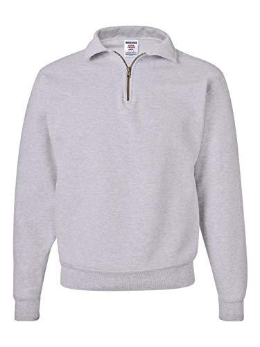 Jerzees mens 9.5 oz. 50/50 Super Sweats NuBlend Fleece Quarter-Zip Pullover(4528)-ASH-M