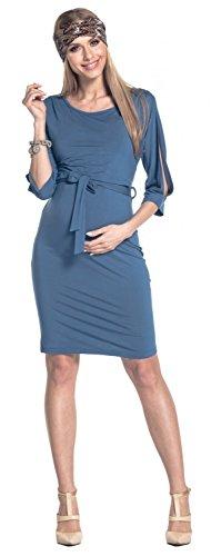 Happy Mama Mujer Vestido en Capas Premamá Lactancia Hombros al Descubierto. 432p Azul Jeans