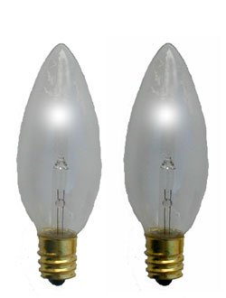 Set Of Two Clear Battery Candle Replacement Light Bulbs -